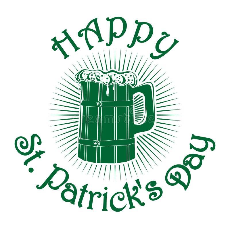 Деревянная кружка с пивом st patricks дня счастливый бесплатная иллюстрация