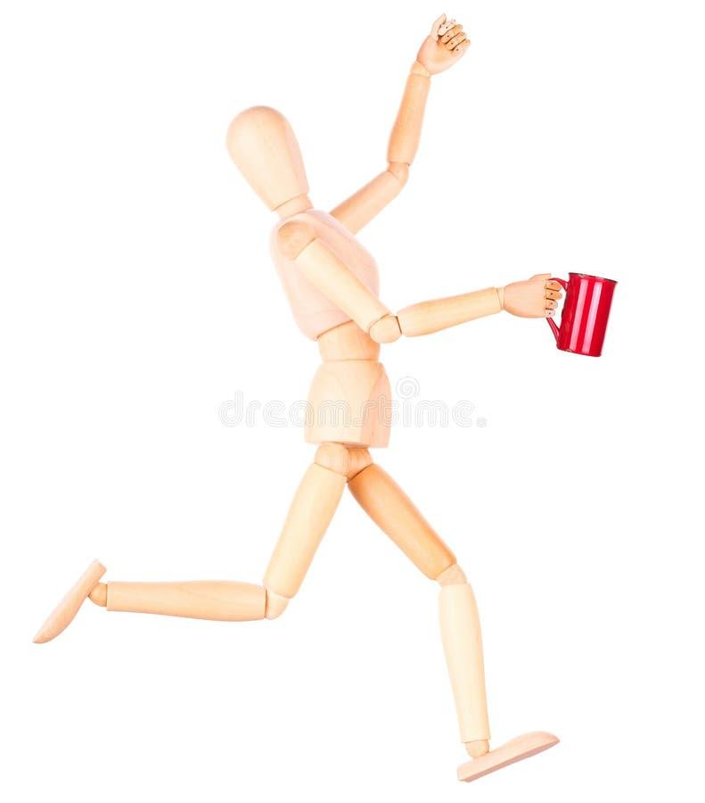 Download Деревянная кукла с красной чашкой кофе Стоковое Изображение - изображение насчитывающей armoring, кафе: 40577761
