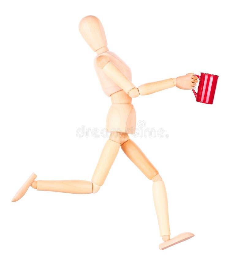 Download Деревянная кукла с красной чашкой кофе Стоковое Фото - изображение насчитывающей кукла, backhoe: 40577776