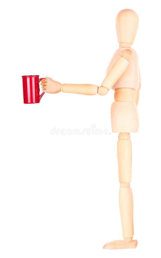 Download Деревянная кукла с красной чашкой кофе Стоковое Изображение - изображение насчитывающей armoring, перст: 40577785