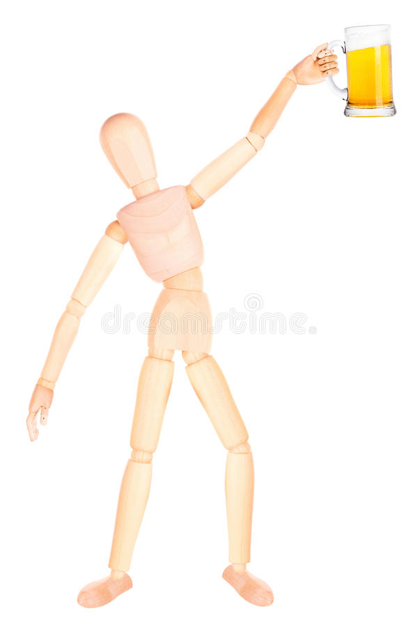 Download Деревянная кукла с морозным стеклом светлого пива Стоковое Изображение - изображение насчитывающей перст, манекен: 40577157