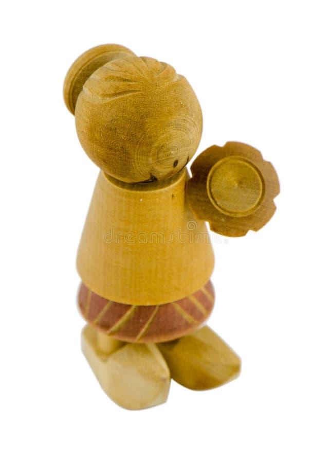 Деревянная кукла с платьем и clog изолированный на белизне стоковое изображение