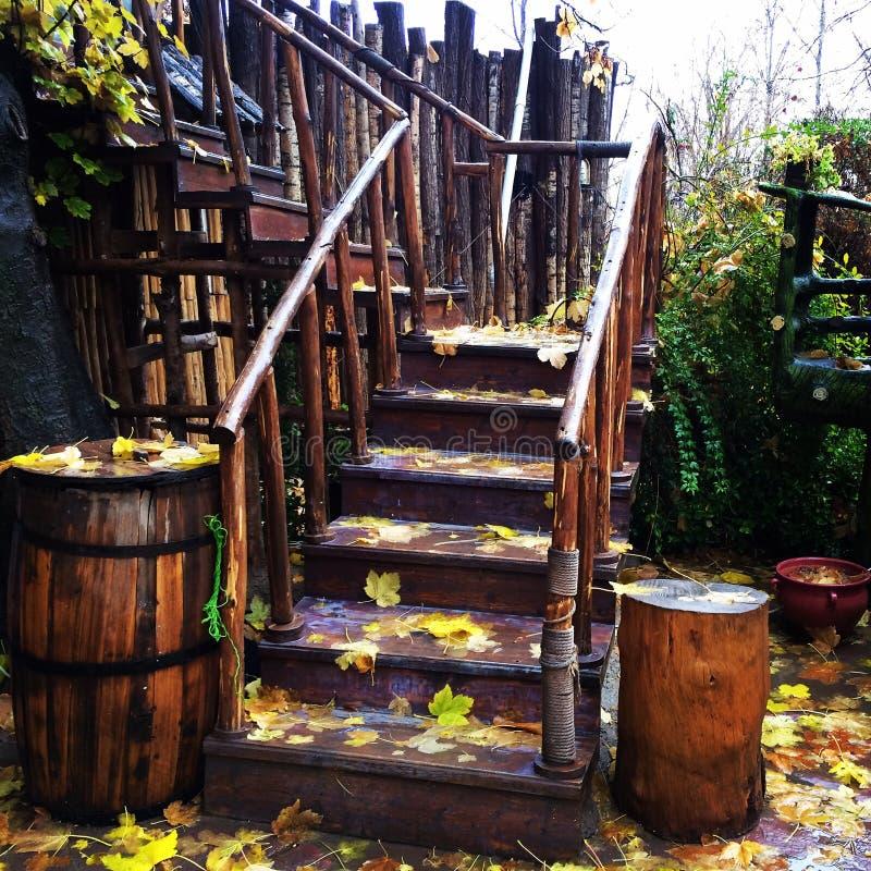 Деревянная лестница стоковые фотографии rf