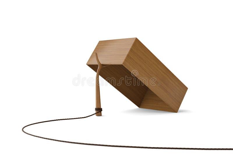 Деревянная ловушка коробки на белой предпосылке иллюстрация 3d бесплатная иллюстрация