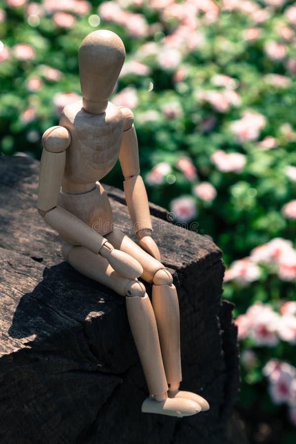 Деревянная марионетка сидит стоковые фото