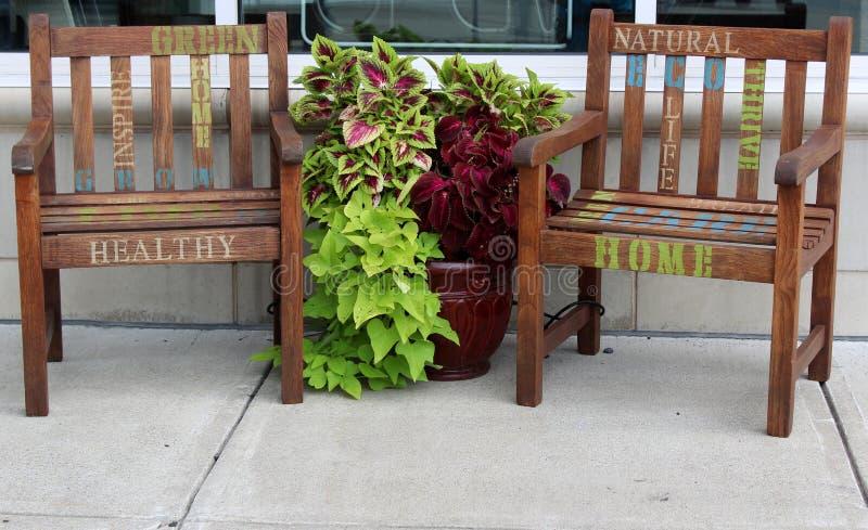 Деревянная мебель и заводы рекламируя зеленые меблировкы, зеленый дом совести, городской Saratoga Springs, Нью-Йорк, 2018 стоковое фото rf