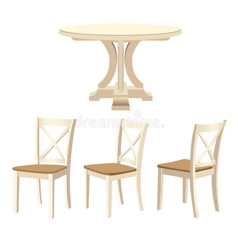 Деревянная мебель установила для dinning комнаты - классические круглый стол и стулья иллюстрация штока