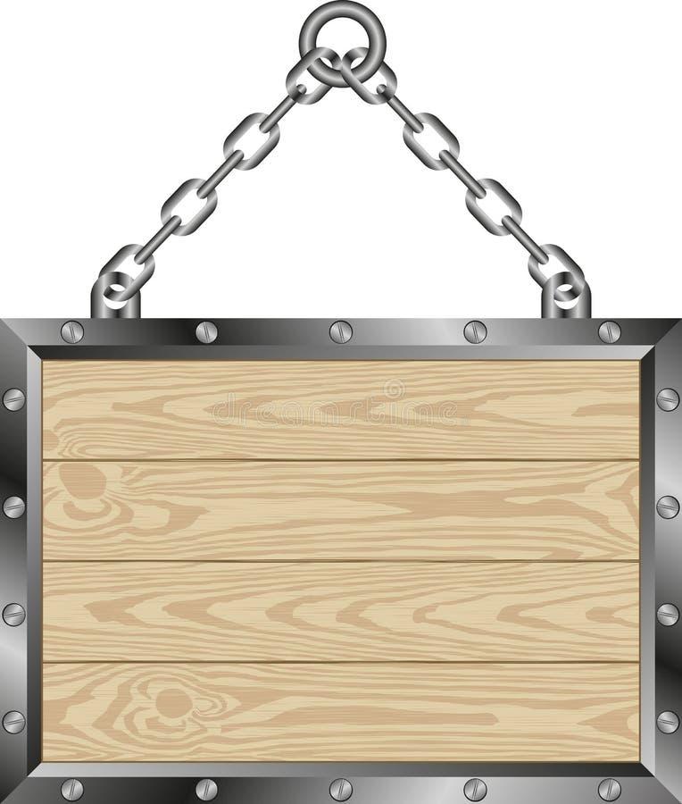 Деревянная металлическая пластинка иллюстрация штока