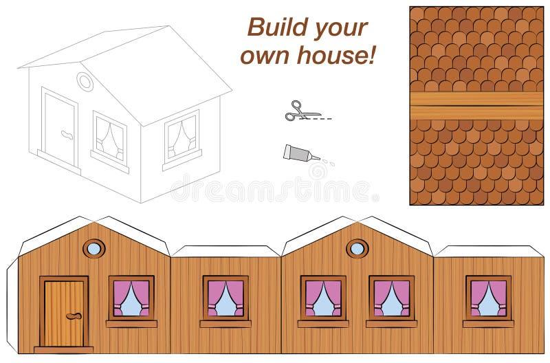Деревянная модель бумаги шаблона дома бесплатная иллюстрация