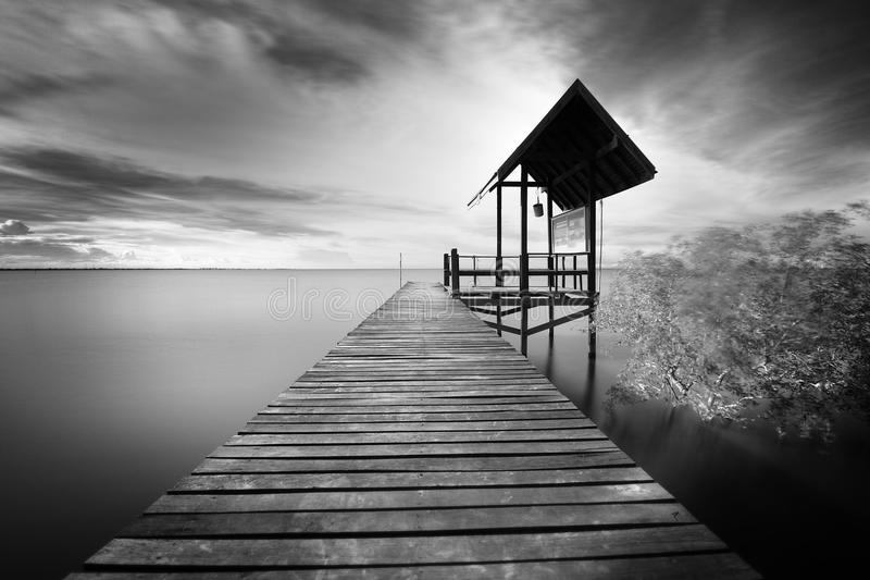 Деревянная мола и море стоковое изображение rf