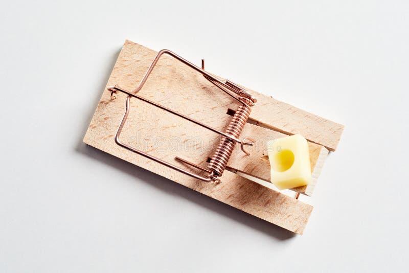 Деревянная мышеловка с сыром, сверху стоковое фото rf
