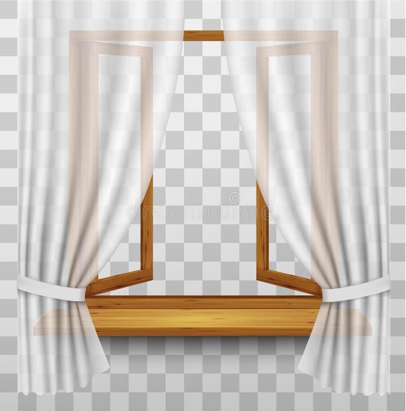 Деревянная оконная рама с занавесами на прозрачной предпосылке иллюстрация вектора