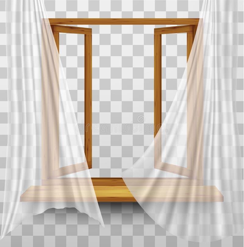 Деревянная оконная рама с занавесами бесплатная иллюстрация