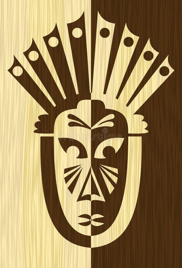 Деревянная плитка инкрустации искусства с противоположностью высекла лицевой щиток гермошлема, племенной африканский мотив, свет  иллюстрация вектора
