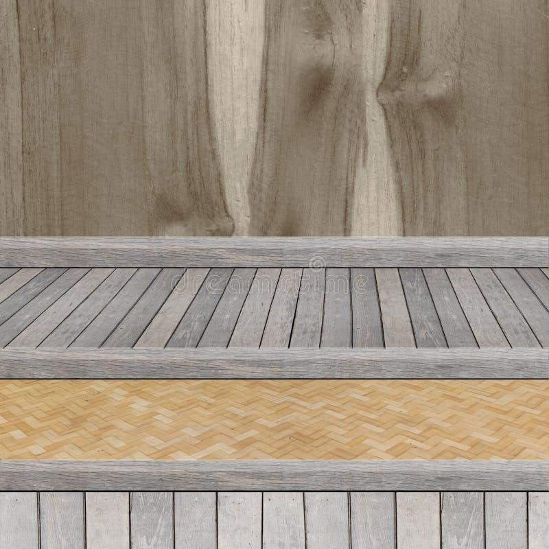 Деревянная полка для предпосылки Предпосылка для концепции дисплея продукта стоковое фото rf
