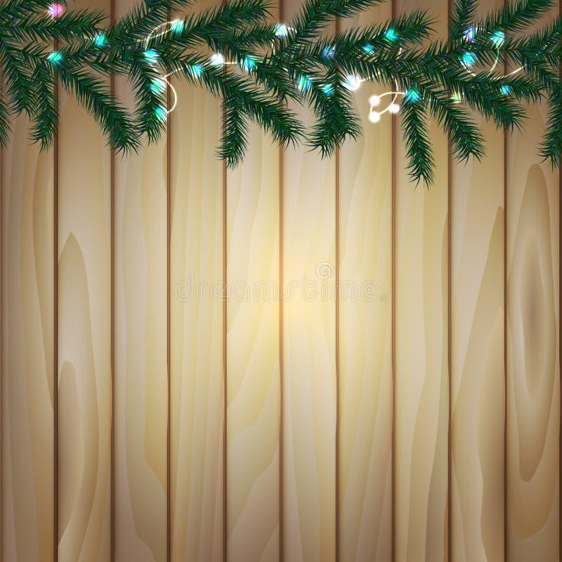 Деревянная предпосылка с ветвями рождественской елки и электрических лампочек, бесплатная иллюстрация