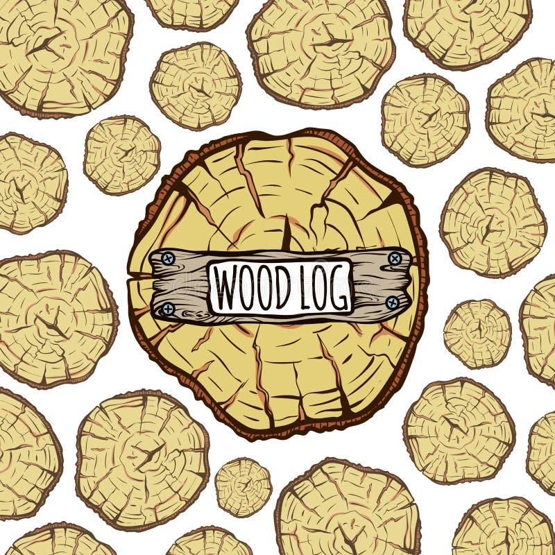 Деревянная предпосылка хоботов, коричневый журнал дерева круга иллюстрация вектора