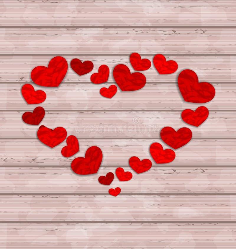 Деревянная предпосылка при рамка сделанная в сердцах на день валентинок иллюстрация штока