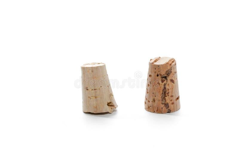 Деревянная пробочка вина изолированная на белизне стоковая фотография rf