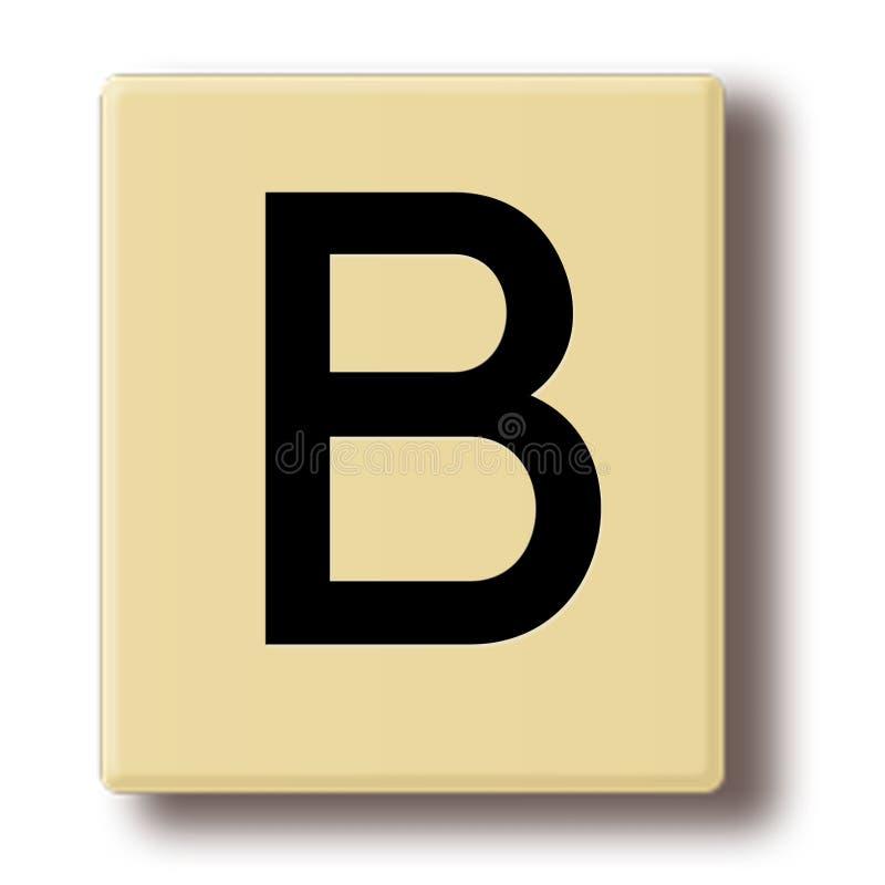 Деревянная плитка игры с письмом b иллюстрация вектора