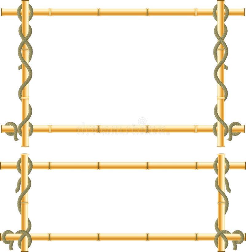 Деревянная рамка бамбуковых ручек swathed в веревочке бесплатная иллюстрация