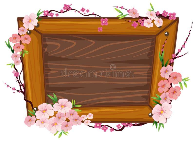 Деревянная рамка и Сакура бесплатная иллюстрация
