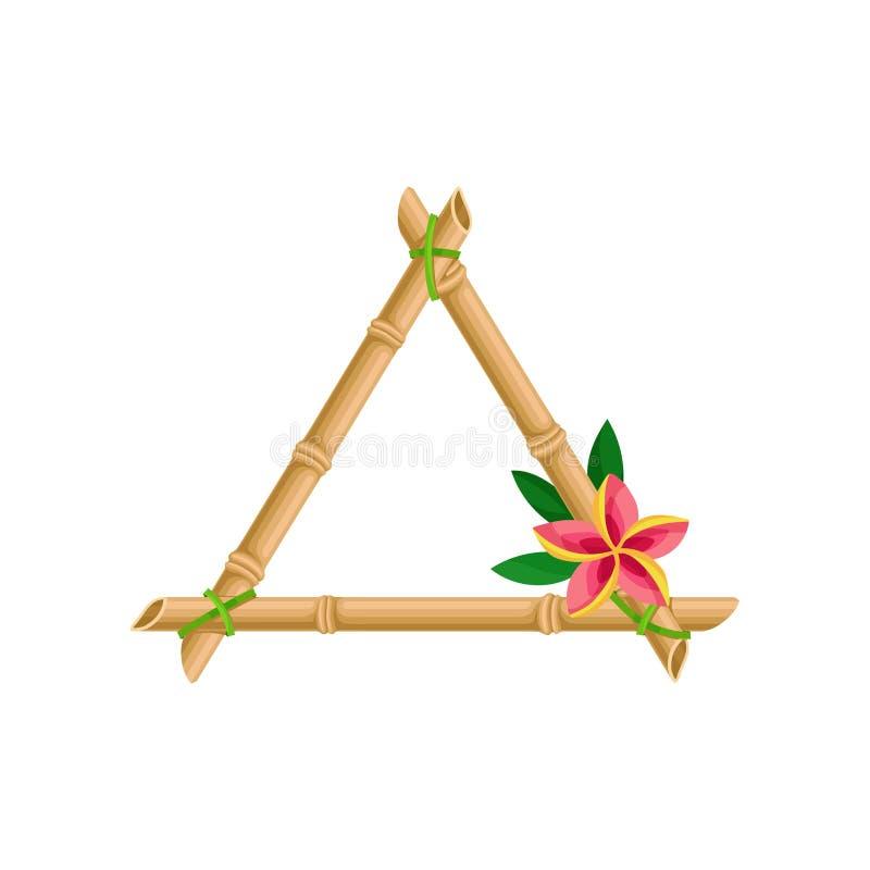 Деревянная рамка сделанная из бамбуковых ручек с иллюстрацией вектора цветка на белой предпосылке иллюстрация штока