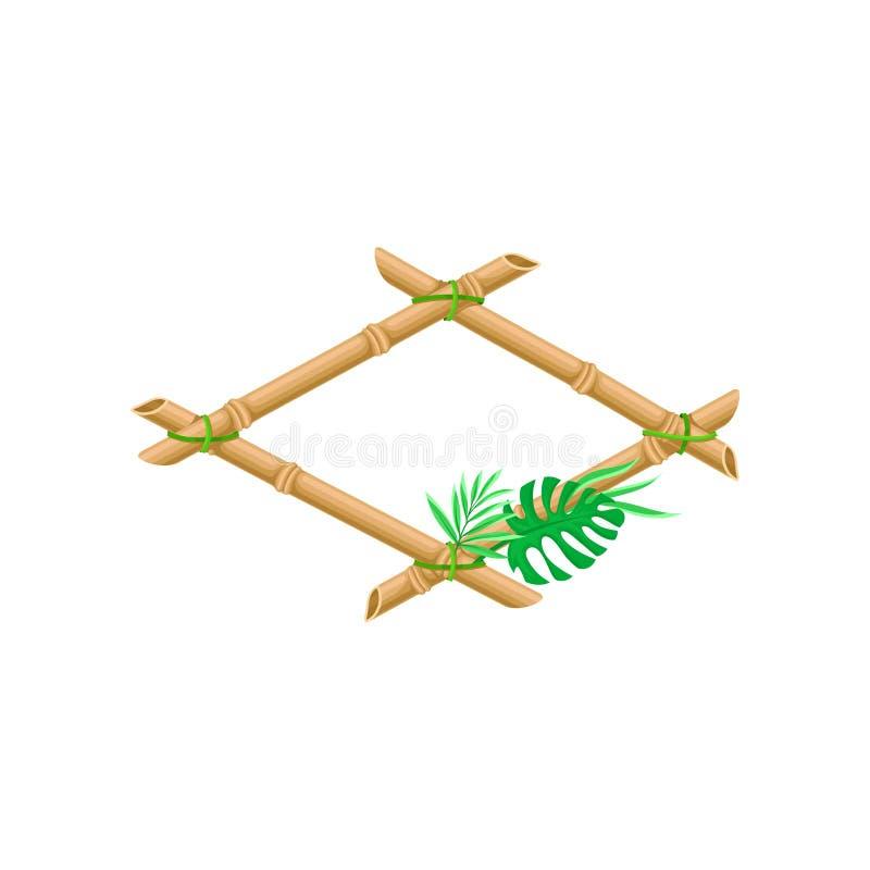Деревянная рамка сделанная из бамбуковых ручек с иллюстрацией вектора лист ладони на белой предпосылке иллюстрация вектора