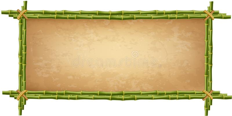 Деревянная рамка сделанная из зеленых бамбуковых ручек иллюстрация вектора