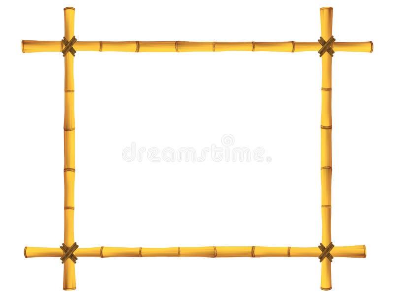 Деревянная рамка старых бамбуковых ручек. иллюстрация вектора