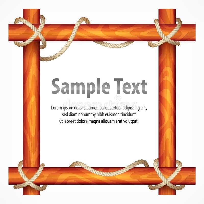 Деревянная рамка с веревочкой иллюстрация вектора
