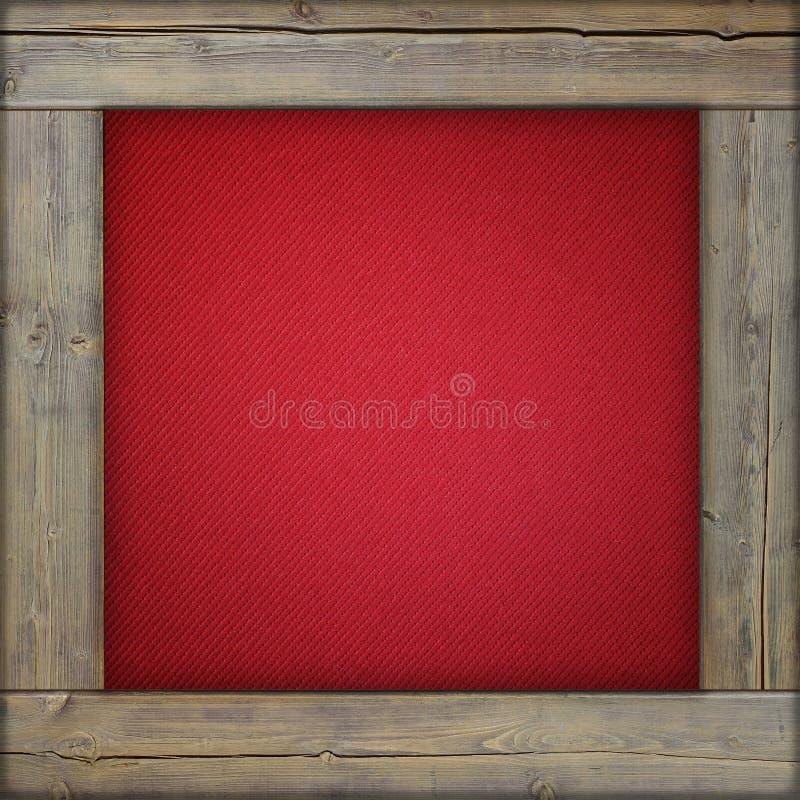 Деревянная рамка с красным холстом стоковая фотография rf