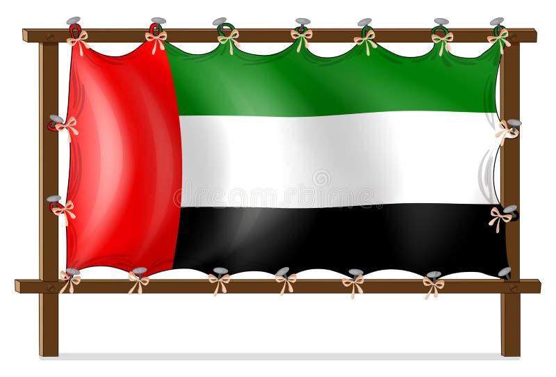 Деревянная рамка с флагом ОАЭ иллюстрация штока