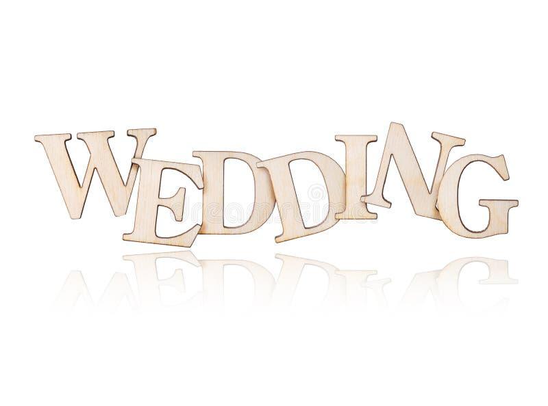 Деревянная свадьба надписи с отражением, на белой предпосылке стоковые фотографии rf