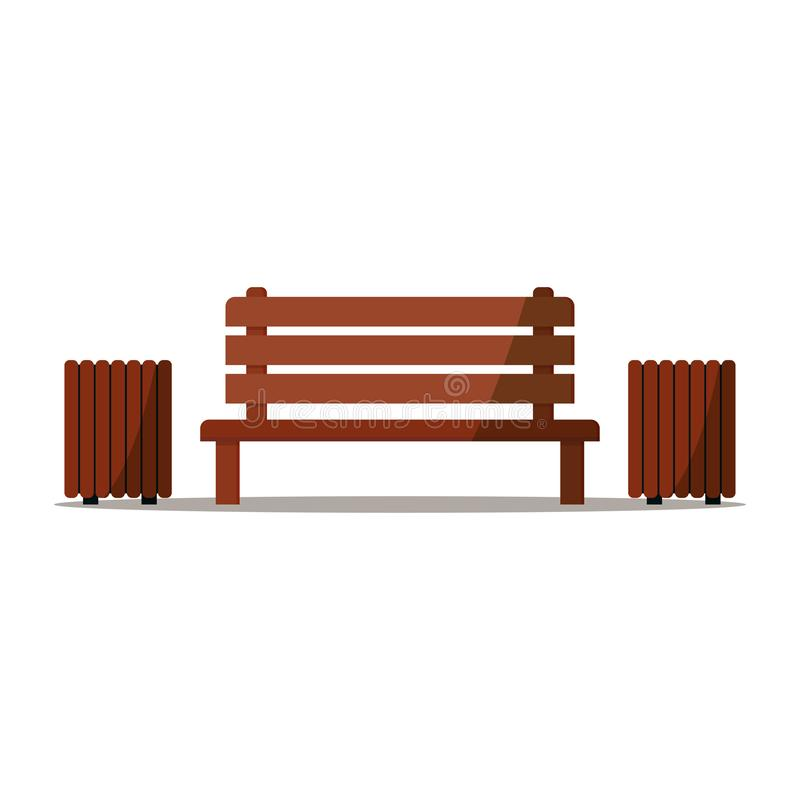 Деревянная скамья с местом 2 мусорных баков остатков и ослабить в парке иллюстрация вектора