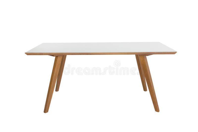 Деревянная современная таблица на белой предпосылке стоковое фото