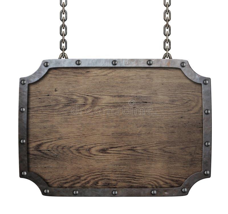 Деревянная средневековая смертная казнь через повешение знака на изолированных цепях стоковая фотография rf