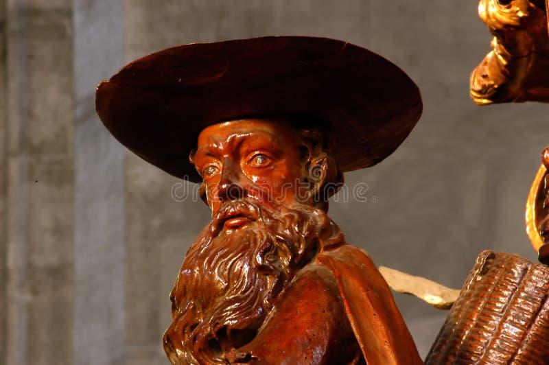Деревянная статуя в католической церкви стоковое фото