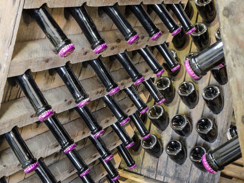 Деревянная стойка шкафа с бутылками белого сухого игристого вина стоковые фото
