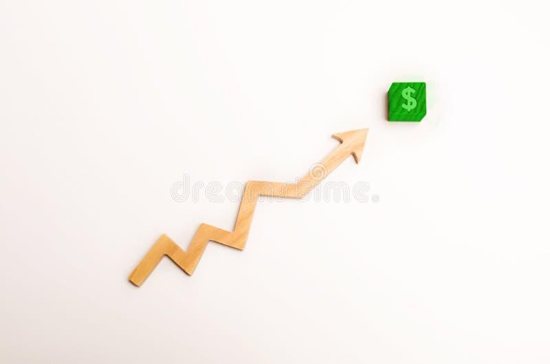 Деревянная стрелка вверх по стрелке указывает к зеленому блоку с символом доллара Концепция роста дохода и цена, увеличение в выг стоковые изображения