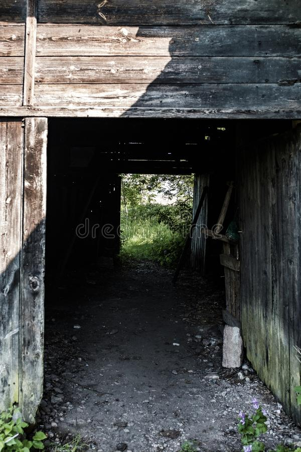 Деревянная структура тоннеля построенная в лесе стоковое изображение
