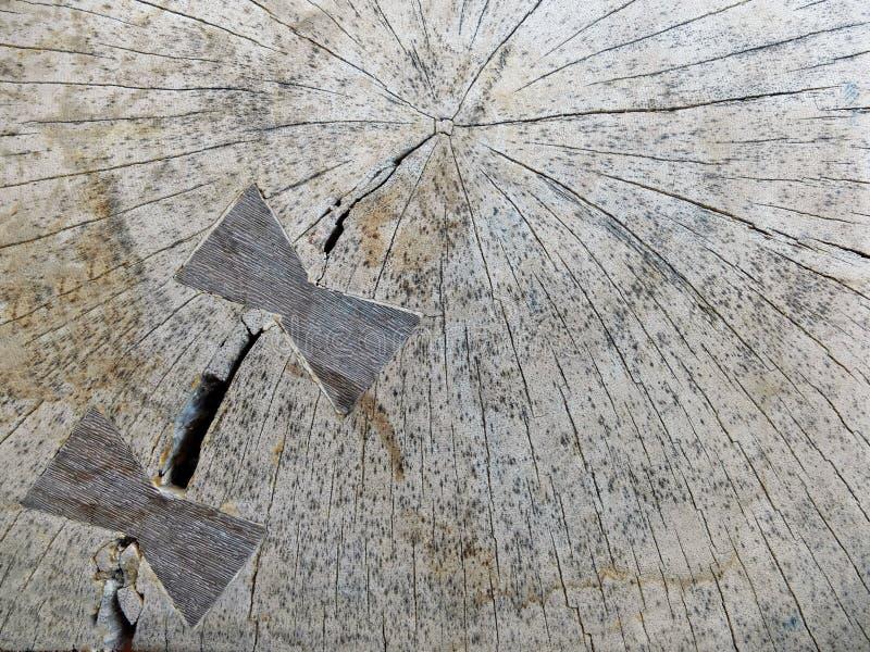 Деревянная текстура с 2 высекаенными лентами стоковое изображение