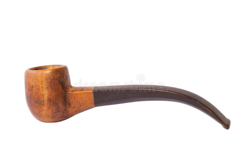 Деревянная труба табака на белой предпосылке стоковые изображения
