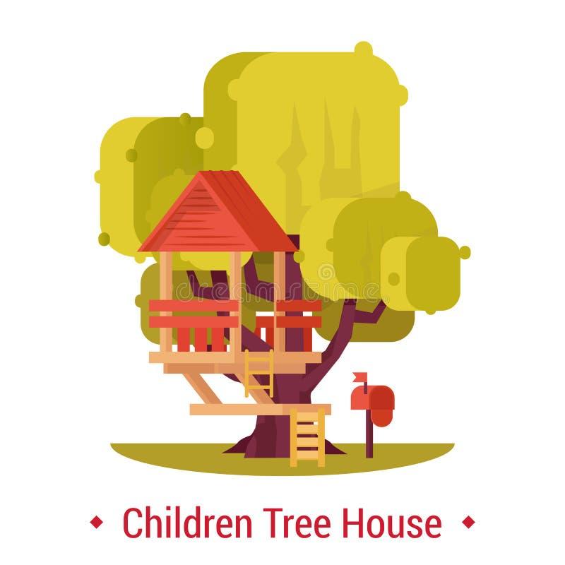 Деревянная хата на дереве для деятельности при детей бесплатная иллюстрация