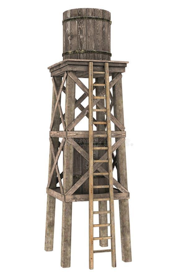 Деревянная цистерна с водой иллюстрация вектора