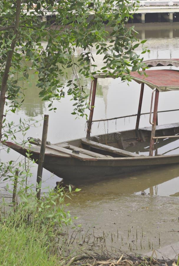 Деревянная шлюпка с крышей утонутой на сторону майны реки под деревом стоковое фото rf