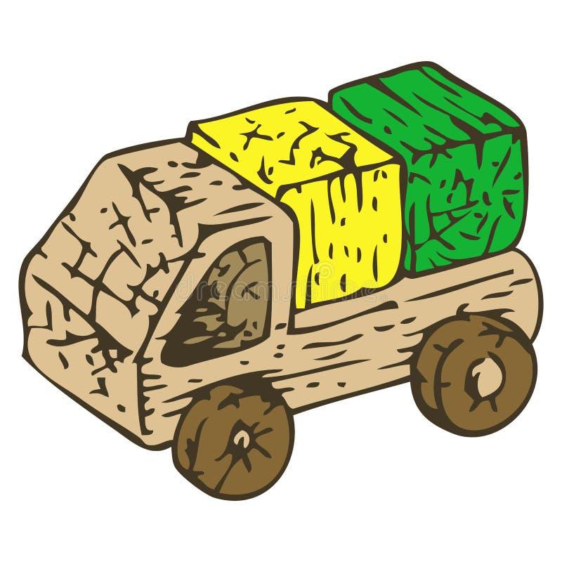 Деревянная шлюпка игрушек иллюстрация вектора