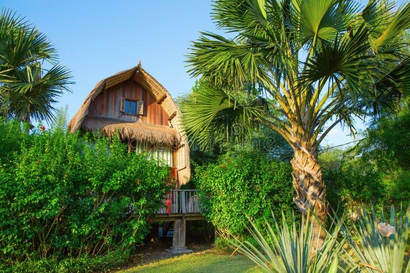 Деревянное бунгало на тропическом пляжном комплексе на Бали стоковое фото rf