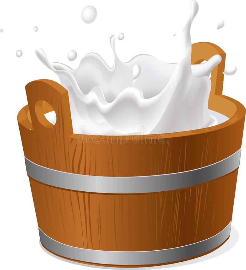 Деревянное ведро при выплеск молока изолированный на бело- векторе иллюстрация штока