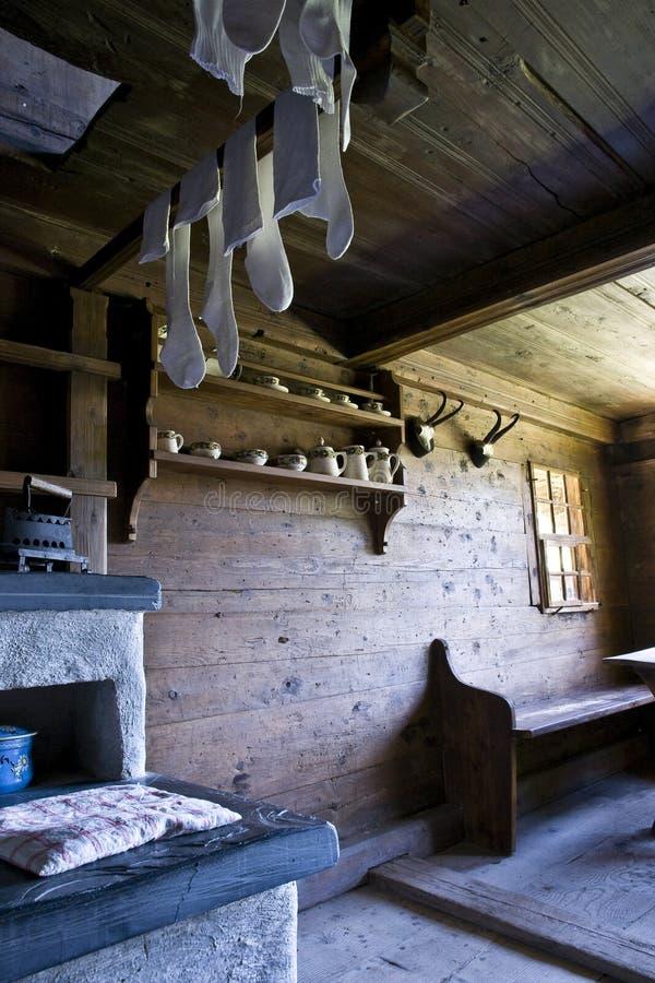 деревянное дома нутряное старое стоковые фото